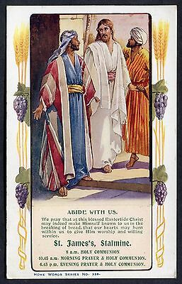 C1960's Illustrated Religious Card 'Abide with Us' St.James' Church, Stalmine
