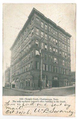 Chattanooga, TN Temple Court Building Vintage 1906 Postcard Lawyers Office old