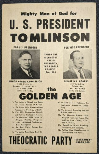 Vintage 1964 Tomlinson Rogers Theocratic Party Mighty Man God Campaign Handbill