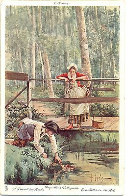 Mann zieht den Schuh der Frau aus dem Wasser, 1907 - Mann Zieht