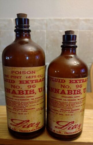 Vintage Medicine Hand Crafted Bottle, 2 Cannabis Extract #96 Lilly