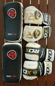 Set of 2 x RDX boxing gloves and 1 x focus mits