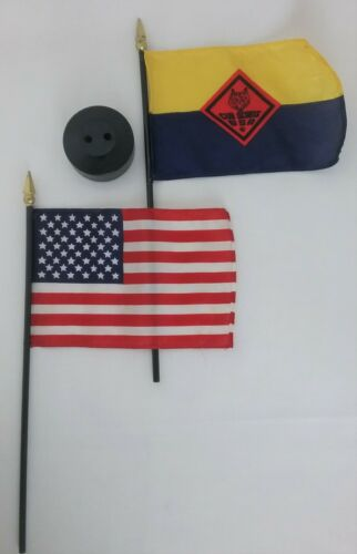 Cub Scouts BSA #1109 Double Flags with Stand in Box NOS