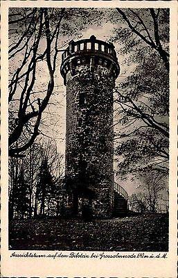 Bilstein bei Großalmerode Hessen alte s/w AK 1955  Waldpartie am Aussichtsturm