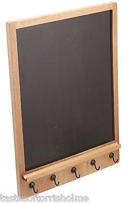Kitchen Craft Natural Elements Acacia Wood Memo Chalk Notice Board & Key Hooks ()