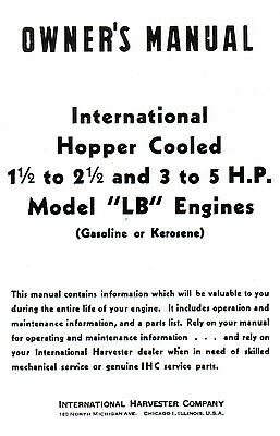 International Lb 1.5-2.5 3-5 Hp Gas Engine Motor Book Manual Hit Miss La Ihc