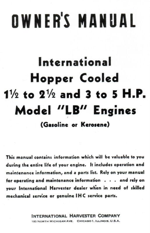 International LB 1.5-2.5 & 3-5 hp Gas Engine Motor Book Manual Hit Miss LA IHC