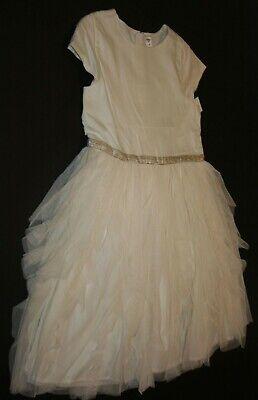 Neu Oshkosh Mädchen 14 Jahr Kleid Elfenbein Tüll Kaskade Wasserfall Rock Party ()