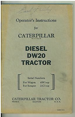 Vintage Owners Operating Manual Caterpillar Diesel Dw20 Tractor