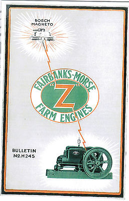 Fairbanks Morse Z Gas Engine Catalog Book Hit Miss H245 Manual Bosch Magneto