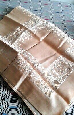 Vintage Damask Peach Tablecloth New Unused 66