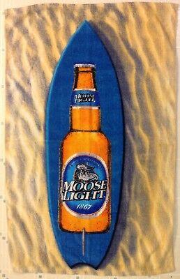 Moosehead Moose Light Beer Bottle Beach Towel Blue Surfboard on Brown Sand 28x42