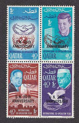 Qatar sc# 101E-H MNH block U.N. 20th anniversary ovpt 101h JFK