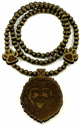 Lion Head Necklace With Paws Good Wood Style Pendant And 36 Inch Bead Chain