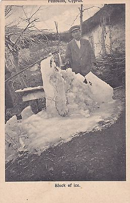 CYPRUS POSTCARD MARANGOS VILLAGER WITH BLOCK OF ICE VERY RARE SOCIAL CARD 1920s