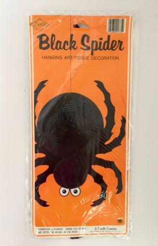 Beistle Black Spider Halloween 01775 18in Honeycomb Art Tissue Vintage 1986