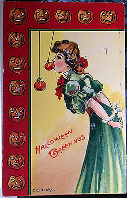 Play Halloween Pumpkins Game (Pretty Girl Plays Apple Game, HALLOWEEN Post Card 1912 PUMPKIN)