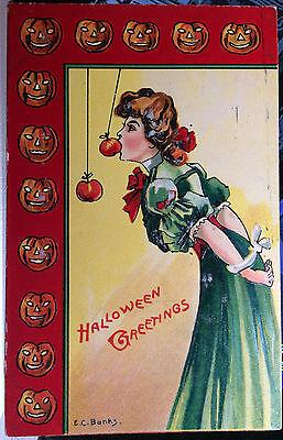 Play Halloween Pumpkins Game (Pretty Girl Plays Apple Game, HALLOWEEN Post Card 1912 PUMPKIN)
