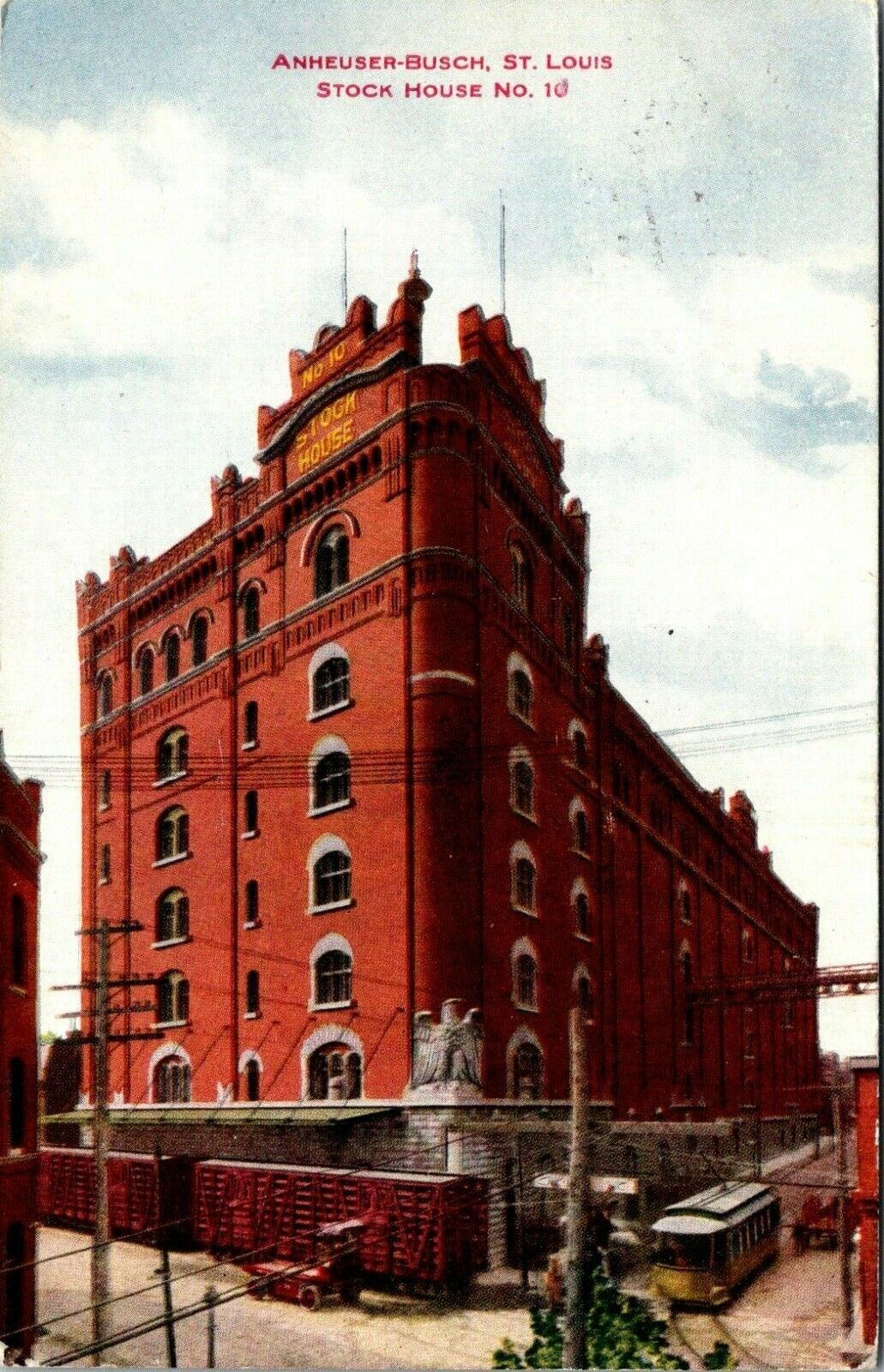 BEER ST LOUIS MISSOURI ANHEUSER BUSCH STOCK HOUSE NUMBER 10 OLD POSTCARD VIEW - $5.99