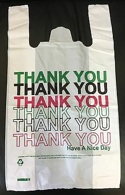 160 White Large Thank You Plastic Vest Carrier Bags 11