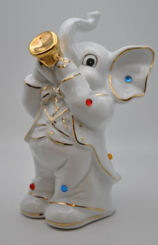 White Elephant Ceramic Coin Piggy Bank w/ Colorful Bead Accents Playing Violin