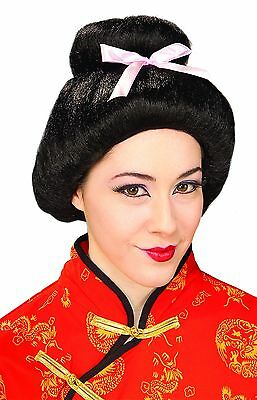Womens Geisha Wig Asian Bun Bow Japanese Goddess Hair Adult Halloween - Geisha Halloween Hair