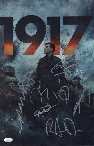1917 Cast X7 Signed 11x17 Photo SAM MENDES, DEAN CHAPMAN, GEORGE MACKAY JSA COA