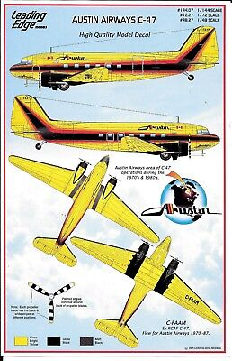 Leading Edge Models, Colorful Paint Scheme,  Austin Airways C-47 Decals 1/144 07