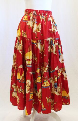 Vintage Sedona Stitchery Native American Horse Printed Tiered Maxi Skirt