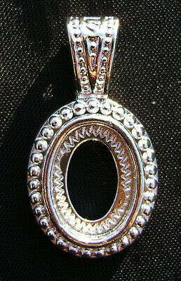 Setting Bezel Pendant Frame Silver Brass Oval Cab 14x10mm Cameo Cabochon, 2 Wty