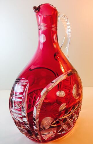 Antique Heavy Cranberry Cut To Clear Crystal Pitcher W/Applied Handle