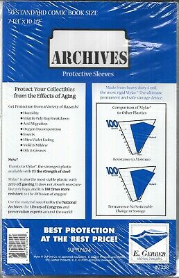 (50) STANDARD COMIC BOOK SIZE ARCHIVES PROTECTIVE SLEEVES / E GERBER #725R 4 MIL