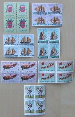 7 blocks of mint unmounted Mozambique stamps 1961-67. 28 stamps in all catalogue