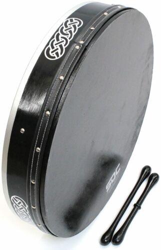 BODHRAN DRUM Irish Celtic 18 Inch Drums + CASE + 2 Tippers BLACK ON BLACK