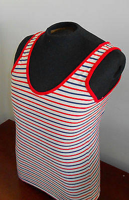 "VTG 1940s WWII Era- Red White & Blue Striped Tank Top - Sailor - 32"" Chest/Small"