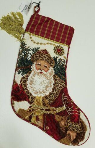 Christmas Holiday Santa Lined Needlepoint Stocking