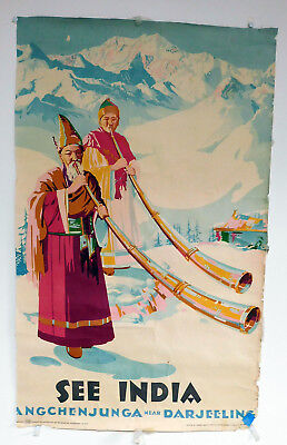 Vintage Original See India Travel Poster 1950S 23  X 38