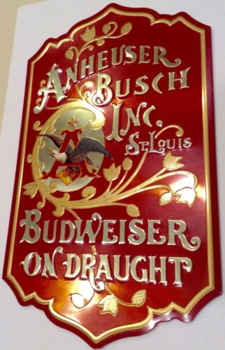 "Vtg Excellent Budweiser on Draught Tin Sign Anheuser Busch Eagle 25"" Wall Plaque"