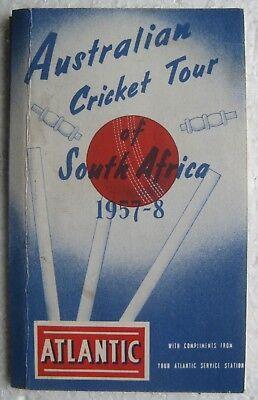 1957-1958 Australian Cricket Tour of South Africa Atlantic Gas Station Scorecard