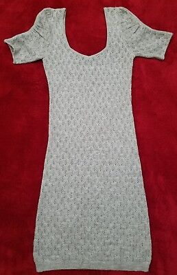 Free People Dress Knit Summer Dress Sheer Stretch Gray- S/P