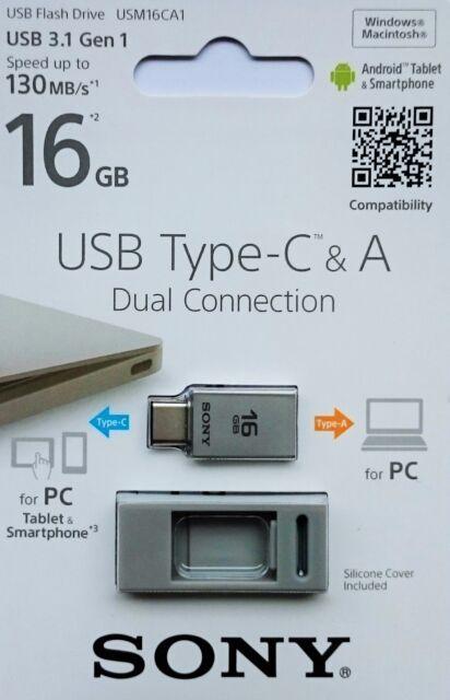 Sony 16GB USB Type-C USB 3.0/3.1 Dual USB 130MB/S 16GB Flash-Laufwerk USM16CA1