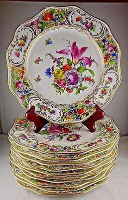 11 Antique Carl Thieme Dresden Floral Gold Reticulated Dinner Porcelain Plates