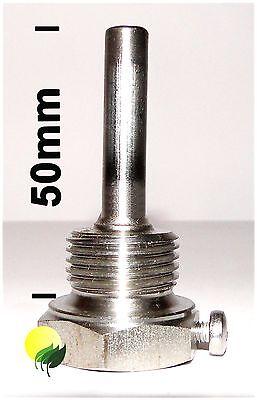 Tauchhülse für Temperaturfühler  Edelstahl  50mm Länge 1/2  Zoll
