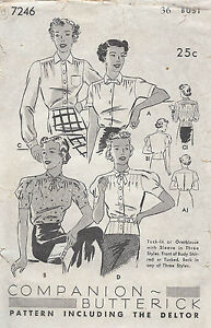1930s Vintage Sewing Pattern B36 BLOUSE (1534)