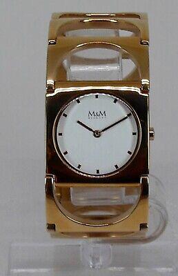Geschäftsauflösung 198€ M&MPlum Design Damenuhr IP Rosegold Halfmoon M11903-992
