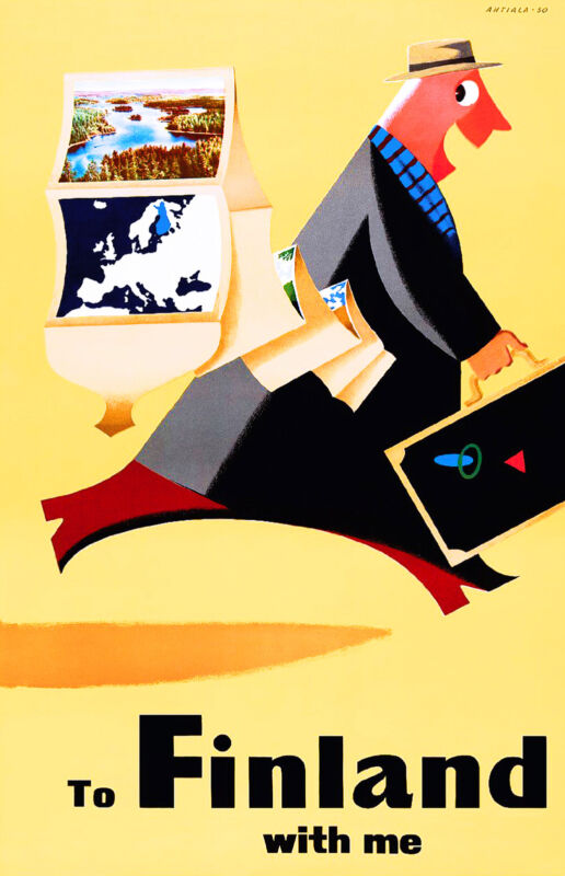 Fly to Finland Scandanavia Europe Finnish Vintage Travel Advertisement Poster