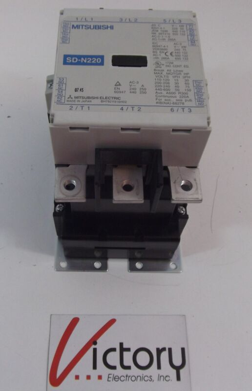 Used Mitsubishi SD-N220 Continuous 220 A Magnetic Contactor (wrs)