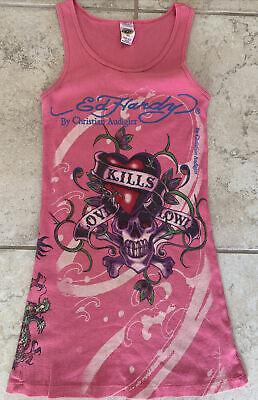 Ed Hardy Christian Audigier Love Kills Slowly Pink Graphic Skull Tank Womens M