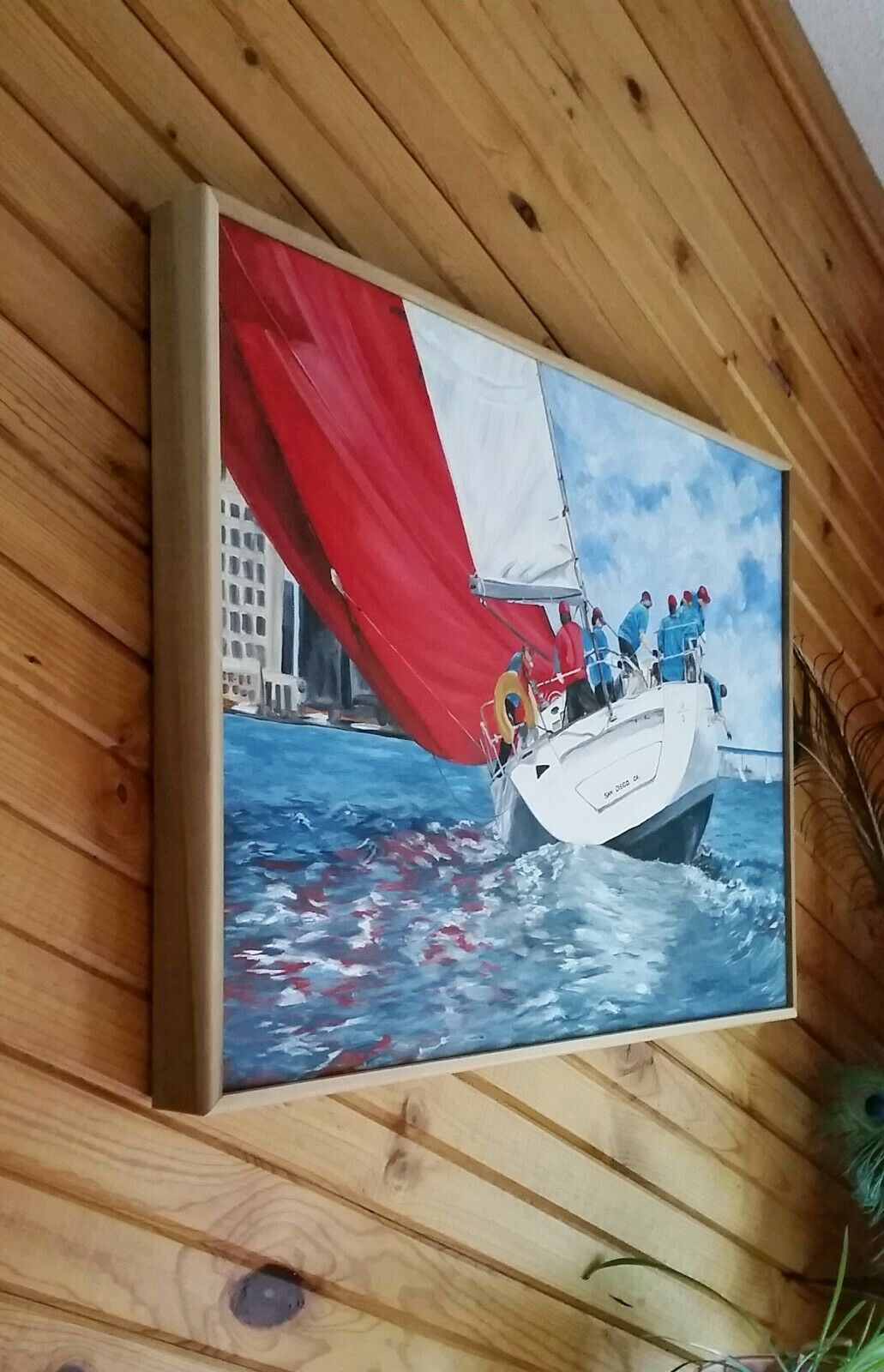 Fine Art Signed Original Oil Painting Sailboat Racing San Diego California  - $1,145.00