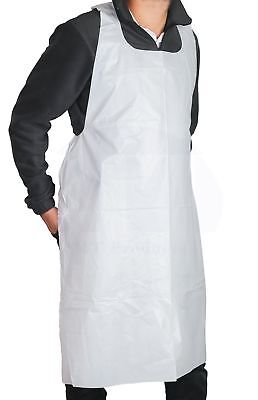 Apron Plastic Disposable Heavy Weight White Poly - 2 Mil 50 Pieces
